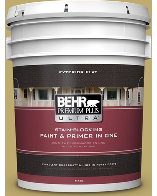BEHR Premium Plus Ultra 5 gal. #M310-5 Chilled Wine Flat Exterior Paint and Primer in One