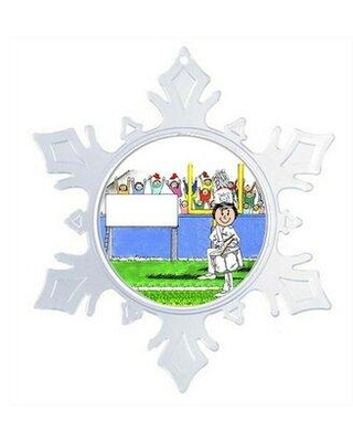 """The Holiday Aisle® Personalized Friendly Folks Cartoon Snowflake Marching Band Drum Snare Christmas Holiday Shaped Ornament, Plastic, Size 5""""H X 5""""W"""