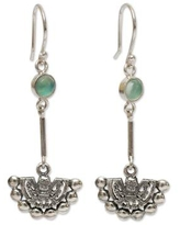 Inca Glyph Earrings with Andean Opal and 925 Sterling Silver