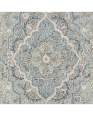 "Momeni Tangier Hand Tufted Wool Traditional Medallion Area Rug (2'3"" x 8' Runner - Blue)"