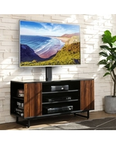 FITUEYES Universal TV Stand Base - Floor TV Stand with Swivel Mount for 32-70 inch Height Adjustable Media Storage Stand Wooden Shelves for Media Player
