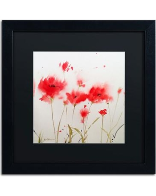 """Winston Porter 'A Poppy Moment' Framed Painting Print WNST6143 Size: 16"""" H x 16"""" W Matte Color: Black"""