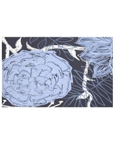 """e by design Flowers and Fronds Floral Print Throw Blanket HFN192 Size: 60"""" L x 50"""" W, Color: Peri (Navy Blue/Blue)"""