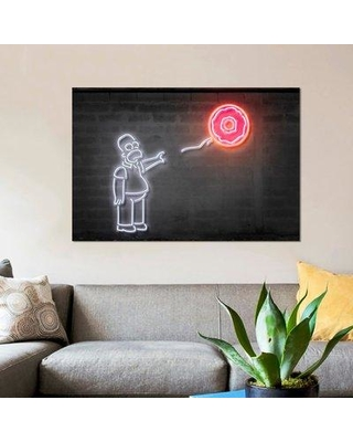 """East Urban Home 'Homer with a Balloon' Graphic Art Print on Canvas ESUI2552 Size: 26"""" H x 40"""" W x 0.75"""" D"""