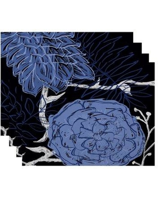 """August Grove Marshallville Flowers and Fronds Floral 18"""" Placemat BUHS9213 Color: Navy Blue / Blue"""