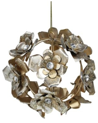 """Silver And Gold Glittery Iron Rose Flowers Ball Christmas Ornament 4"""" Northlight Seasonal"""
