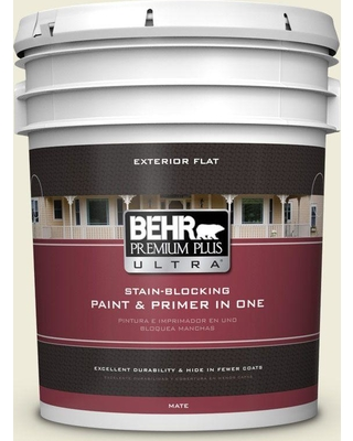 BEHR ULTRA 5 gal. #PPU9-15 Summer Jasmine Flat Exterior Paint and Primer in One