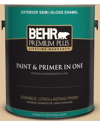 BEHR Premium Plus 1 gal. #S300-3 Almond Cookie Semi-Gloss Enamel Exterior Paint and Primer in One