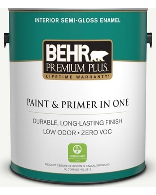 BEHR Premium Plus 1 gal. Home Decorators Collection #hdc-CT-18G Cotton Ball Semi-Gloss Enamel Low Odor Interior Paint & Primer, Whites