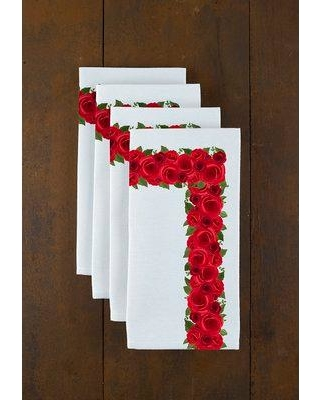 "Fabric Textile Products Inc. Rose Garland Border 18"" Napkins FLRL-ROSE-1818"