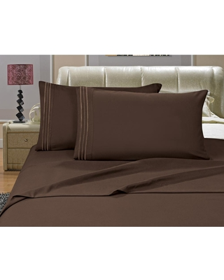 Elegant Comfort 1500 Series 4-Piece Chocolate Brown Triple Marrow Embroidered Pillowcases Microfiber Full Size Bed Sheet Set
