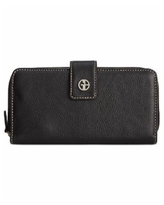 Giani Bernini Softy Leather All In One Wallet, Created for Macy's - Black/Silver