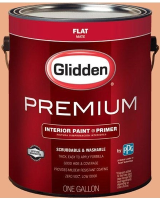 Glidden Premium 1 gal. #HDGO19D Dramatic Coral Flat Interior Paint with Primer