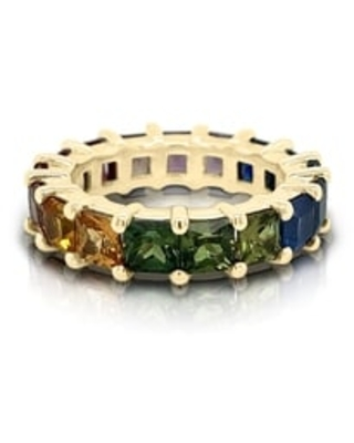 Noray Designs 14K Gold Rainbow Multicolor Sapphire (4MM) Eternity Ring (Yellow - 7.5)