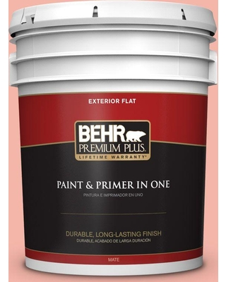 BEHR Premium Plus 5 gal. #P180-3 Pink Mimosa Flat Exterior Paint and Primer in One