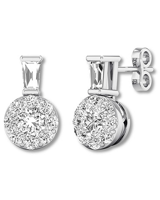 c42181a10 Remarkable Deal on Round/Baguette Diamond Stud Earrings 1/2 ct tw ...