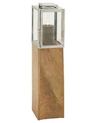 """Deco 79 24157 Wood Stainless Steel Glass Candle Lantern, 9""""W/36""""H"""