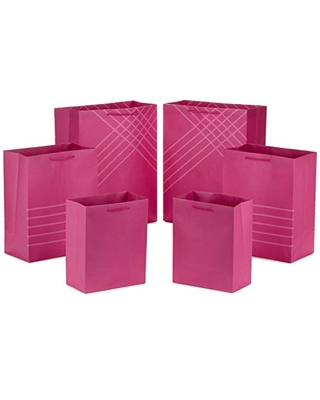 """Hallmark Pink Gift Bags in Assorted Sizes (Pack of 6: 2 Medium 9"""", 2 Large 11"""", 2 Extra Large 14"""") for Birthdays, Mothers Day, Baby Showers, Bridal Showers, Bridesmaids Gifts, Bachelorette Parties"""