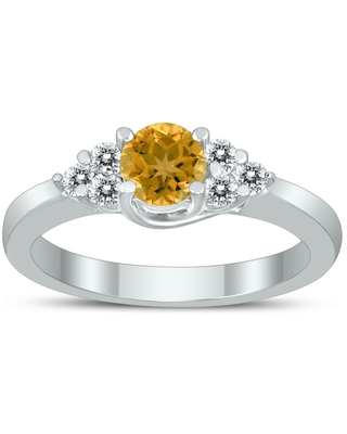5MM Citrine and Diamond Cynthia Ring in 10K White Gold (5)