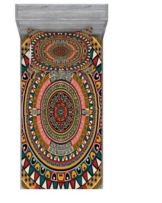 Tribal Folkloric Tribe Round with Colors Aztec Sheet Set East Urban Home