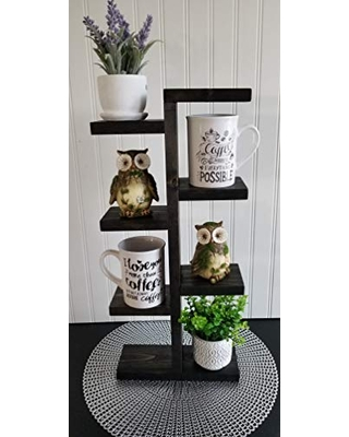 Check Out These Bargains On Rustic Coffee Mug Stand Farmhouse Coffee Bar Plant Stand Black Solid Wood