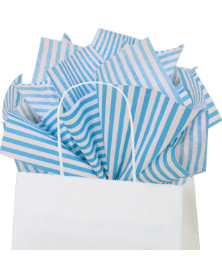 """Turquoise Pin Stripe Tissue Paper, 15""""x20"""", 100 ct"""
