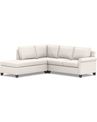 Cameron Roll Arm Upholstered Right 3-Piece Bumper Corner Sectional, Polyester Wrapped Cushions, Sunbrella(R) Performance Chenille Salt