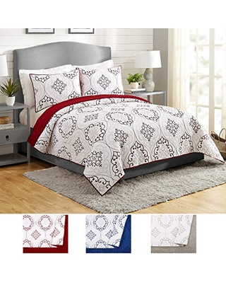Modern Heirloom Collection Chambers Quilt Set, Full Queen, Red