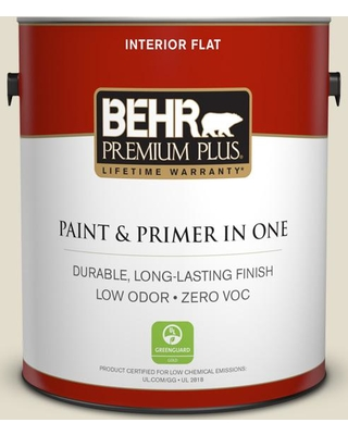 BEHR Premium Plus 1 gal. #PPU7-16 Vintage Linen Flat Low Odor Interior Paint and Primer in One