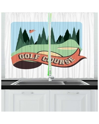 2 Piece Golf Course Scene Cartoonish Graphic of Forest Hills and Flag Lettering on Ribbon Kitchen Curtain Set East Urban Home