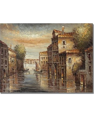 "Trademark Art 'Auburn Venice' by Rio Painting Print on Canvas MA0256 Size: 24"" H x 32"" W x 2"" D"