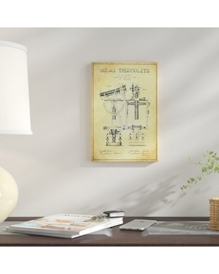 """'J.W. Holmes Solar Theodolite Patent Sketch' Graphic Art Print on Canvas in Beige East Urban Home Size: 12"""" H x 8"""" W x 0.75"""" D"""