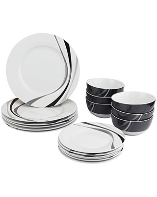Amazon Basics 18-Piece Kitchen Dinnerware Set, Plates, Dishes, Bowls, Service for 6, Swirl