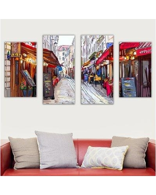 """Picture Perfect International """"Restaurants"""" 4 Piece Painting Print on Wrapped Canvas Set 704-0213 / 704-0213_LRG Size: 30"""" H x 56"""" W x 0.75"""" D"""