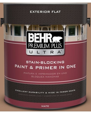 BEHR Premium Plus Ultra 1 gal. #S220-5 Nutshell Flat Exterior Paint and Primer in One