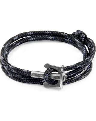 ANCHOR & CREW - Black Union Anchor Silver & Rope Bracelet