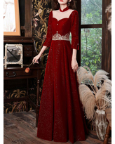 Milanoo Burgundy Evening Dress A-Line High Collar Long Sleeves Korean Velvet Sequined Floor-Length Applique Social Pageant Dresses