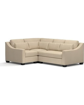 York Slope Arm Upholstered Deep Seat Right Arm 3-Piece Corner Sectional, Down Blend Wrapped Cushions, Twill Parchment