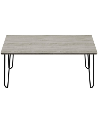 Lavish Home 42 in. Driftwood Gray Large Rectangle Wood Coffee Table with Hairpin Legs, Driftwood Gray Woodgrain-look