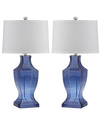 Safavieh Lighting Collection Glass Bottom Blue 29-inch Bedroom Living Room Home Office Desk Nightstand Table Lamp (Set of 2) - LED Bulbs Included