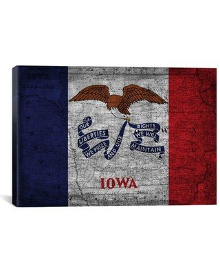 """Winston Porter Iowa Flag Map with Grunge Graphic Art on Canvas FLG160 Size: 26"""" H x 40"""" W x 1.5"""" D"""