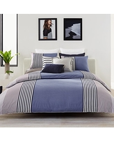 Lacoste Meribel Blue and Grey Colorblock Striped Brushed Twill Comforter Set, Full/Queen