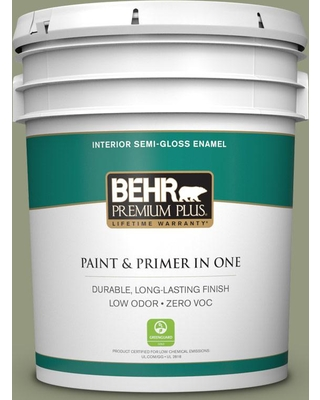 BEHR Premium Plus 5 gal. #S380-5 Milkweed Pod Semi-Gloss Enamel Low Odor Interior Paint and Primer in One