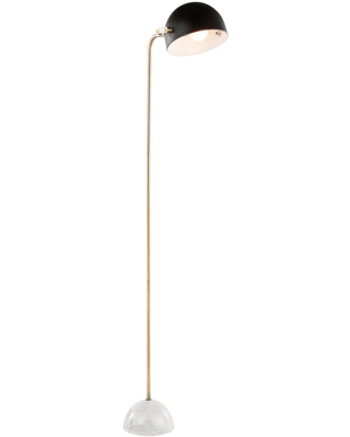 Black Metal and White Marble Elodie Floor Lamp: Black/Gold by World Market