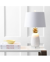 """Pineapple 23"""" Ceramic LED Table Lamp, White/Gold by JONATHAN Y (Gold/White)"""