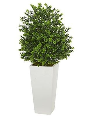 """Nearly Natural 6383 Artificial Plant in White Sweet Grass in Tower Planter (Indoor/Outdoor), Green,17""""Dx17""""Wx33""""H"""