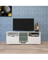 TV Cabinet with High-Gloss LED Lights,TV Stand Entertainment Center
