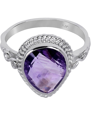 Amethyst Sterling Silver Pear Promise Ring by Orchid Jewelry (7 - Amethyst)