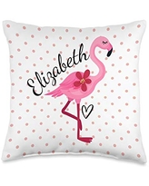 Personalized Gifts Pink Flamingo By HustlaGirl Elizabeth Personalized Gifts Pink Flamingo Throw Pillow, 16x16, Multicolor