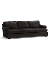 Townsend Roll Arm Leather Grand Sofa, Polyester Wrapped Cushions, Leather Vintage Midnight